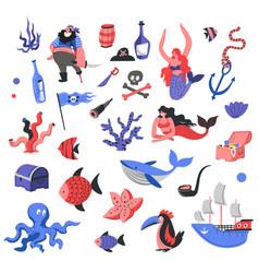 marine and nautical theme pirates and mermaids vector image