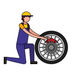 mechanic with brake disc engine part vector image