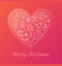 merry christmas colorful modern line vector image
