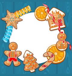 merry christmas frame with various gingerbreads vector image
