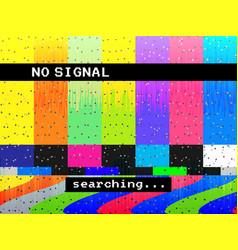 no signal glitch tv distorted color lines vector image