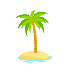 palm tree on island isolated on white background vector image