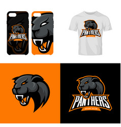 Panther head sport club isolated logo vector