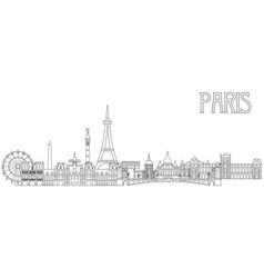paris skyline line art 2 vector image