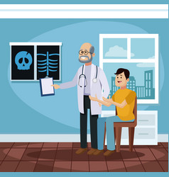 patient at doctors office cartoon vector image