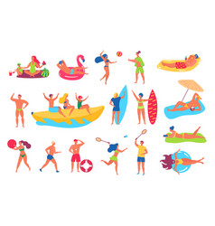 people on beach man and woman in swimsuits vector image