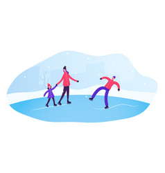 people skating on open air rink in winter time vector image