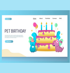pet birthday website landing page design vector image