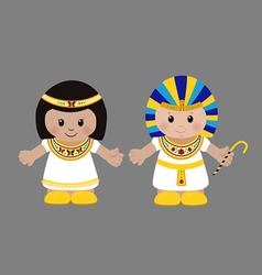 Pharaoh and Cleopatra in ancient Egyptian clothing vector