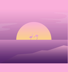 pink flamingos in the water vector image
