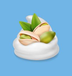 Pistachio nuts in ice cream or yogurt realistic vector