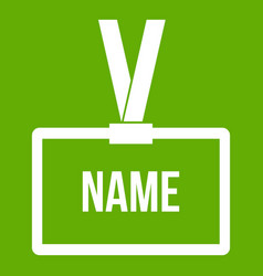 plastic name badge with neck strap icon green vector image