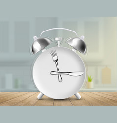 plate with a fork and a knife as an alarm clock vector image