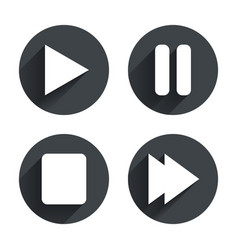 Player navigation icons Play stop and pause vector