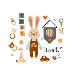 poster with bohemian baby boy elements vector image