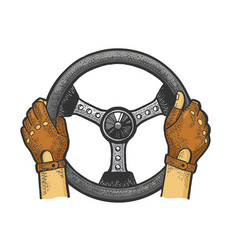 racer hands on steering wheel color sketch vector image