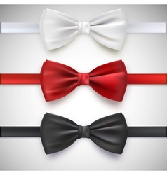 Realistic white black and red bow tie vector