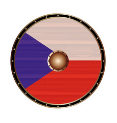 Round viking style shield with czech republic flag vector