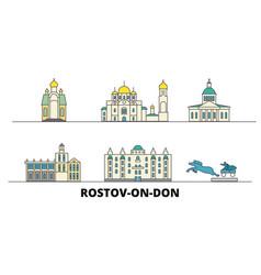 Russia rostov on don flat landmarks vector