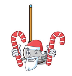 santa with candy mop mascot cartoon style vector image