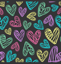 Seamless pattern with hearts on black background vector