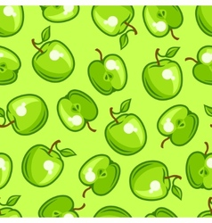 Seamless pattern with stylized fresh ripe apples vector image