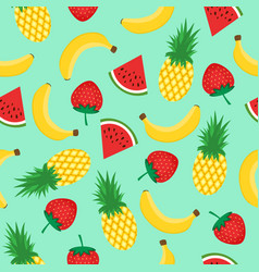 seamless pattern with yellow bananas pineapples vector image