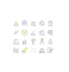 Set line icons chemistry vector