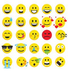 Set of cute emoji emoticon vector
