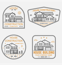 set of house construction company identity with vector image