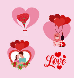 set of love cartoons vector image