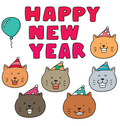 set of new year celebration cat vector image
