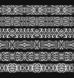 set of white seamless borders vector image