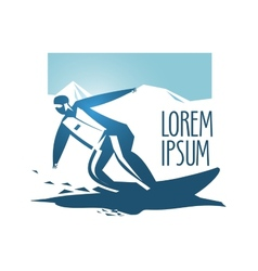 Snowboarding logo design template sport vector