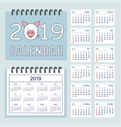 spiral calendar 2019 with pig muzzle and set of vector image