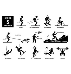 Sport games alphabet s icons pictograph skiing ski vector