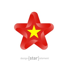 Star with Vietnam flag colors and symbols vector