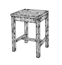 stool tabouret chair sketch engraving vector image