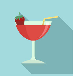 Strawberry cocktail icon flat style vector