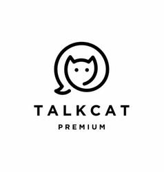 Talk cat logo design vector