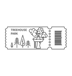 Ticket with barcode and treehouse vector