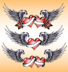 valentine heart emblem design vector image
