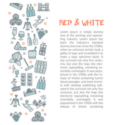 Vertical text card template red and white vector