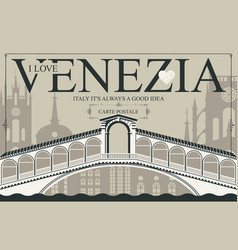vintage postcard with rialto bridge vector image