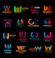 w corporate identity letter icons color trend set vector image
