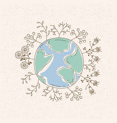 Watercolor card of planet earth surrounded by vector