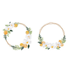 Watercolor white flower and orange fruit wreath vector