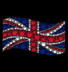 Waving british flag collage of royal items vector