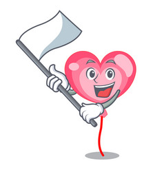 with flag ballon heart mascot cartoon vector image
