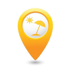 beach icon yellow map pointer vector image vector image